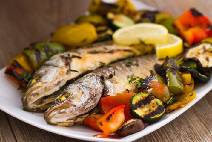 See Bass and grilled vegetables