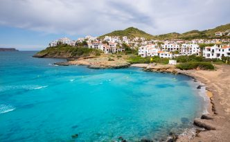 Beautiful view of Cala Fornells, seaside Majorca Spain, Balearic Islands.