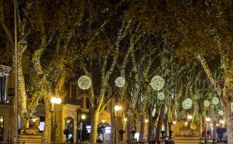 Spain Palma Majorca old town center at night, passeig des born, at Christmas.
