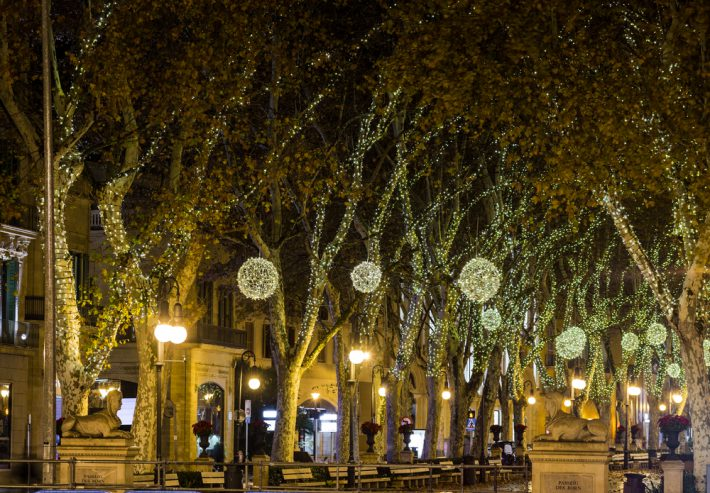 Spain Palma Majorca old town center at night, passeig des born, at Christmas.