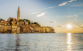 Old town of Rovinj Croatia during sunset
