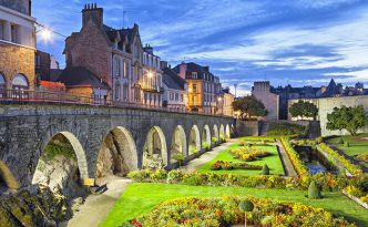Flower garden at the castle walls in the city Vannes, Brittany, France