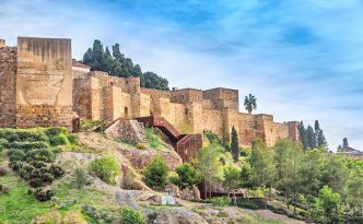 Walls of Alcazaba palatial fortress in Malaga built in 11th century