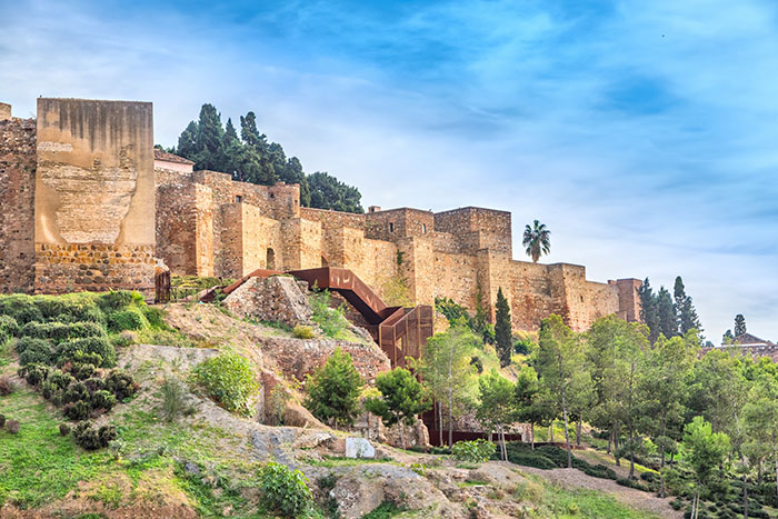 Walls of Alcazaba palatial fortress in Malaga built in 11th century