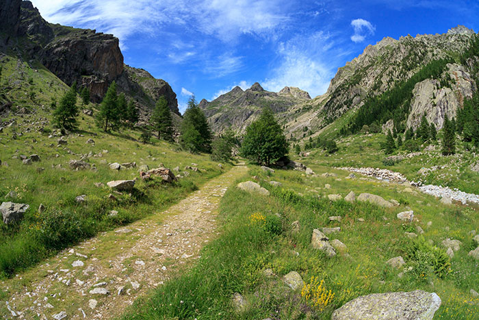 Hiking trail in the Vallee des Merveilles in the south of France