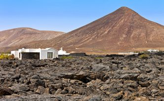 Rustic house in an arid landscape in Tahiche, Lanzarote, Canary Islands