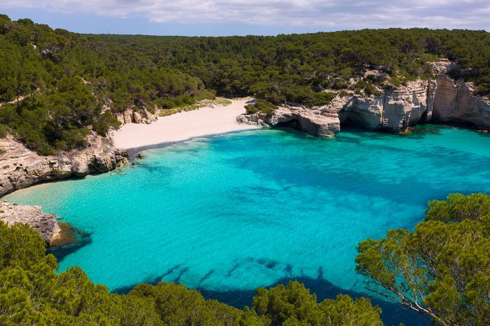 Cala Mitjana y Mitjaneta in Menorca Ciutadella at Balearic Islands