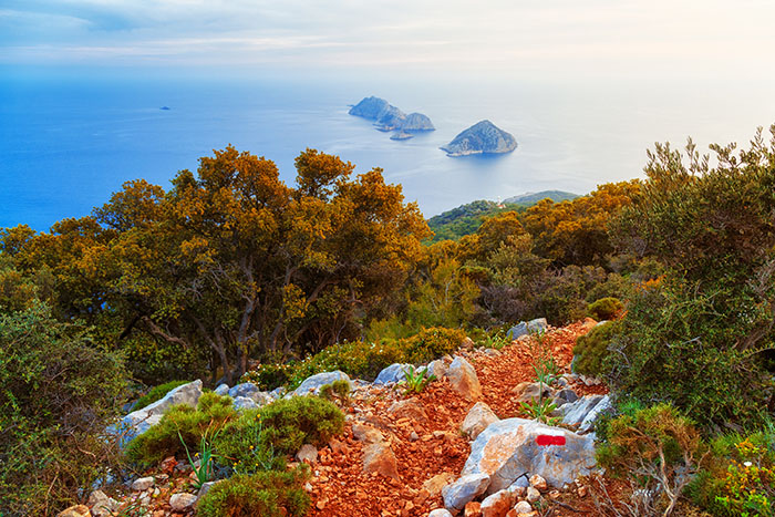 Top view from touristic hiking trail, Lycian way