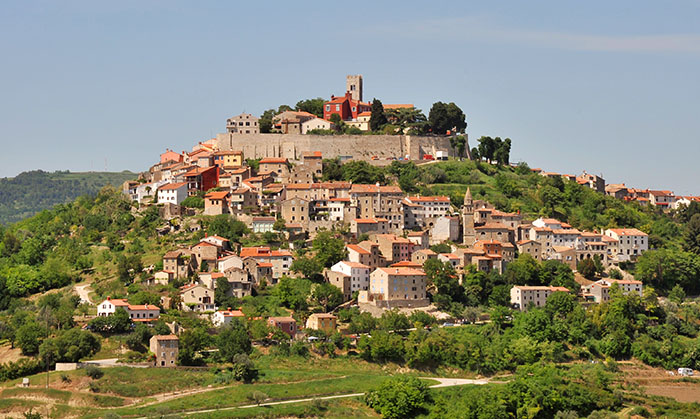 Medieval town Motovun on a top of a hill, Croatia.