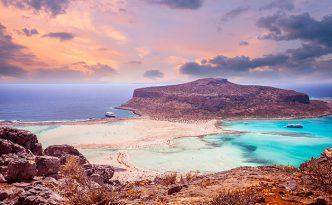 Sunset over Balos lagoon on Crete.