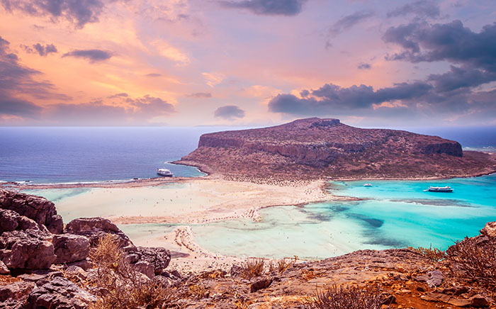 Sunset over Balos lagoon on Crete.