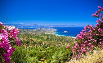 Turquoise water of bay on Crete, Greece