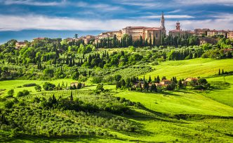 Town of Pienza at sunset, Tuscany