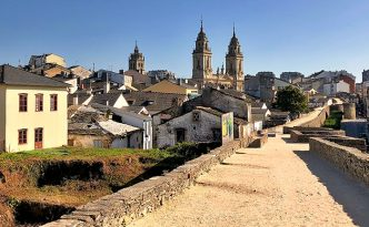 View of St Mary Cathedral towers in Lugo, Spain