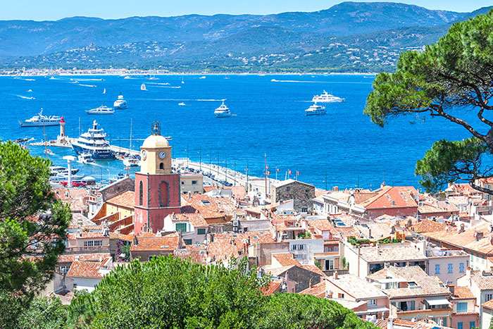 Panoramic view of the bay of Saint-Tropez, France