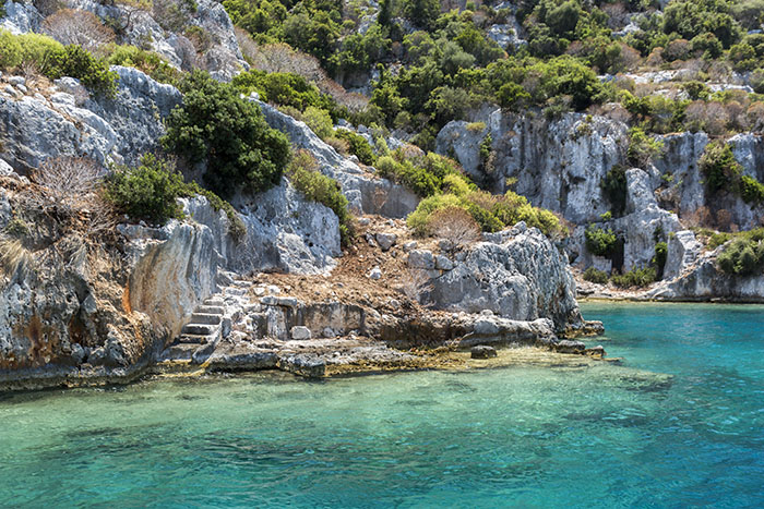 Ancient sunken city in Kekova, Kas, Antalya