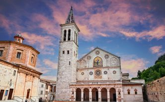 Spoleto, Umbria, Italy: the medieval cathedral of Santa Maria Assunta, example of Romanesque architecture