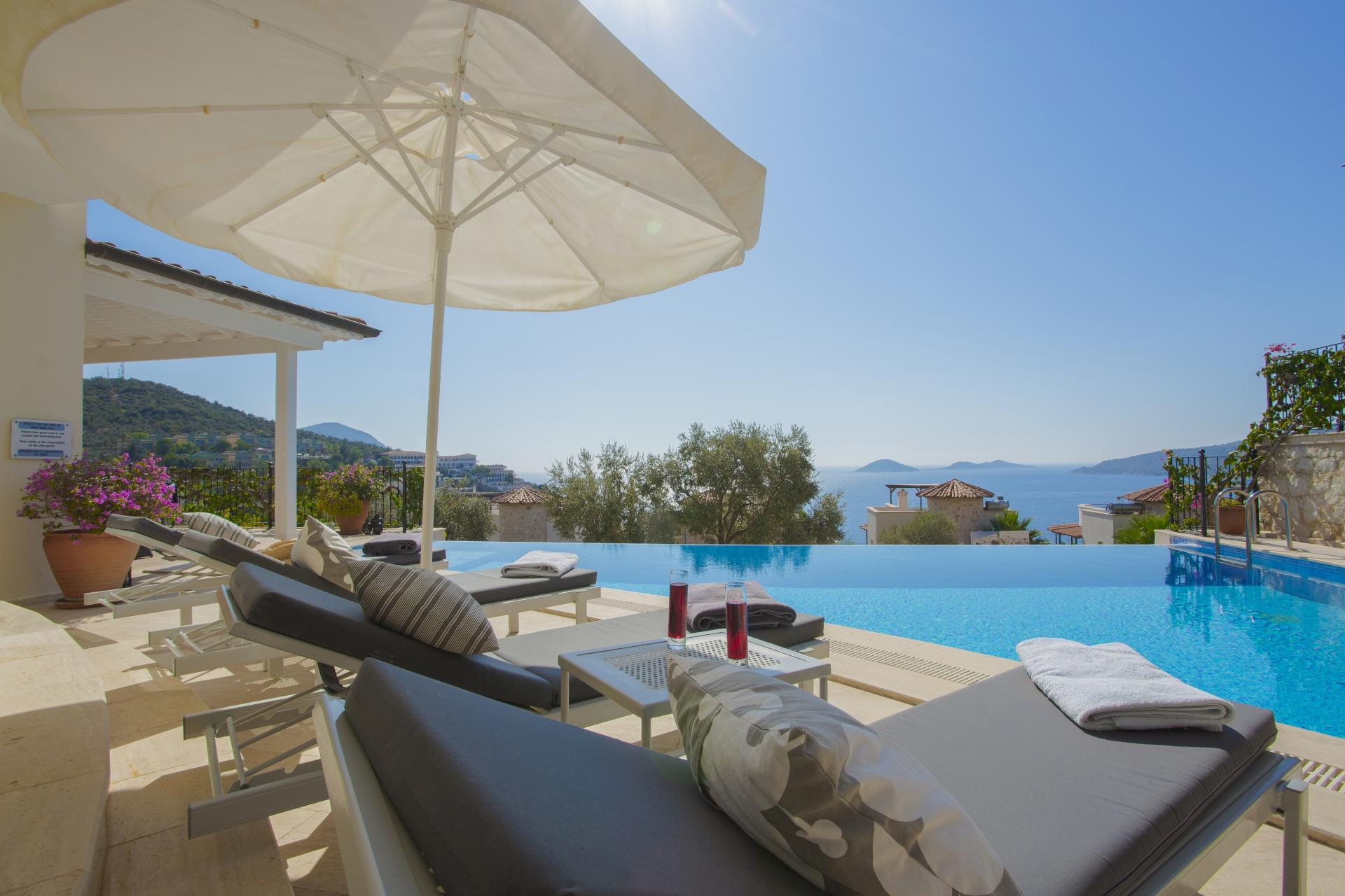 Enjoy spectacular views of Kalkan Bay from the stylish villa known as White Moon