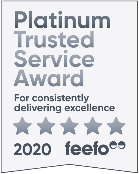 Feefo Platinum award for constant excellence 2020.